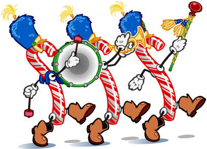 Parade of animated candy canes  Color     March on over   Stocking stuffer sale,