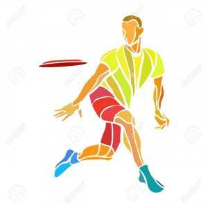 Sportsman throwing ultimate frisbee. Lineart clipart, color vector illustration