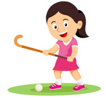 Girl holding hockey stick playing field hockey clipart