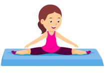 female athlete practicing leg split gymnastics clipart