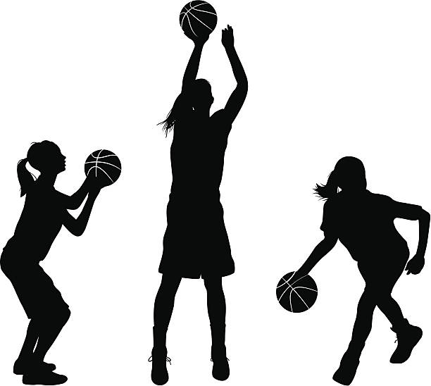 Vector illustration of girls playing basketball. These silhouettes are an ai 8 eps file.